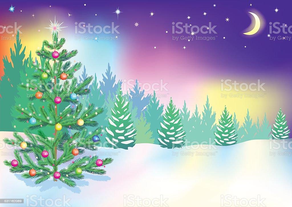 Año nuevo northern lights - ilustración de arte vectorial