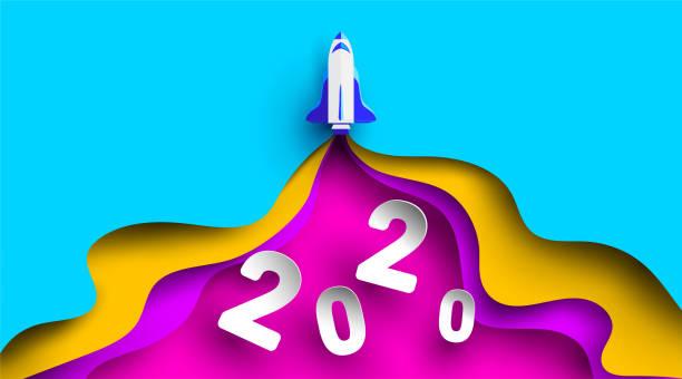 illustrations, cliparts, dessins animés et icônes de 2020 conception de nombre de nouvel an avec la fusée dans la coupe de papier et le modèle d'artisanat. symbole d'atteindre les objectifs pour 2020. démarrer le concept d'entreprise. - vecteur. - calendrier de l'avant