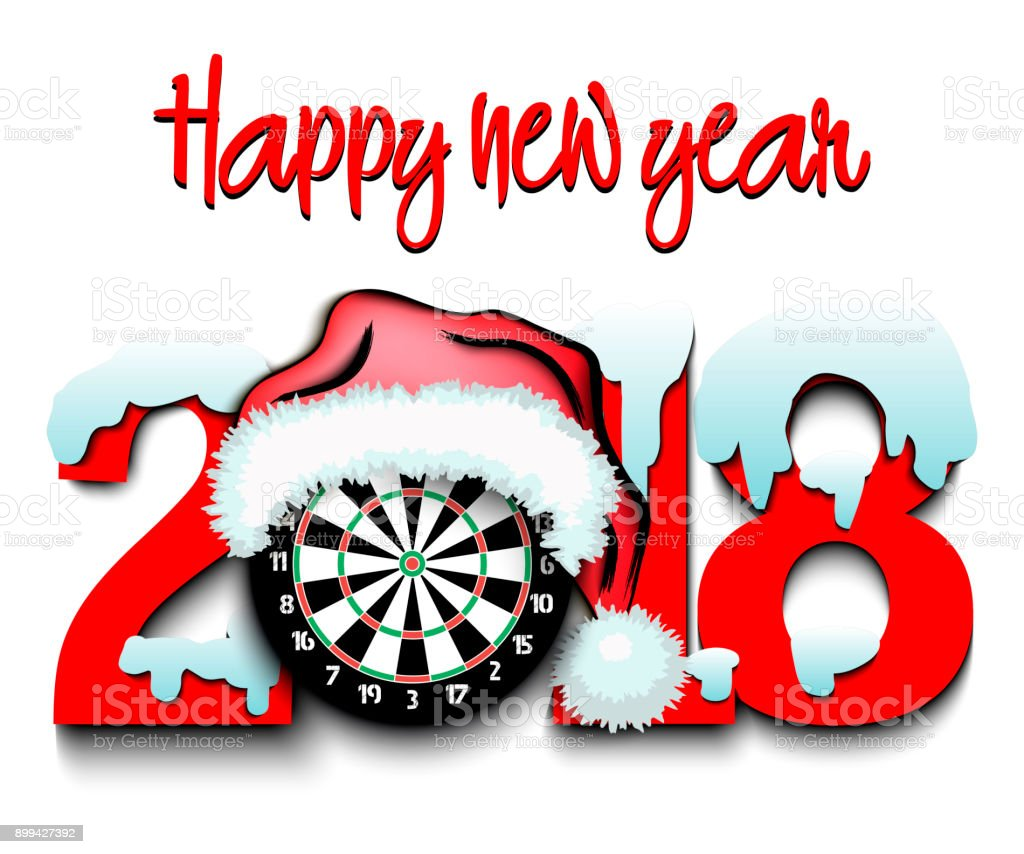 New Year numbers 2018 and darts vector art illustration