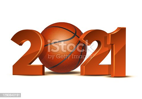 istock New Year numbers 2021 with basketball ball isolated on white background 1290640191