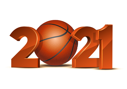 New Year numbers 2021 with basketball ball isolated on white background