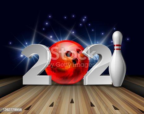 New Year numbers 2021 with bowling ball and white bowling pin with red stripes. Creative design pattern for greeting card, banner, poster, flyer, party invitation, calendar. Vector illustration
