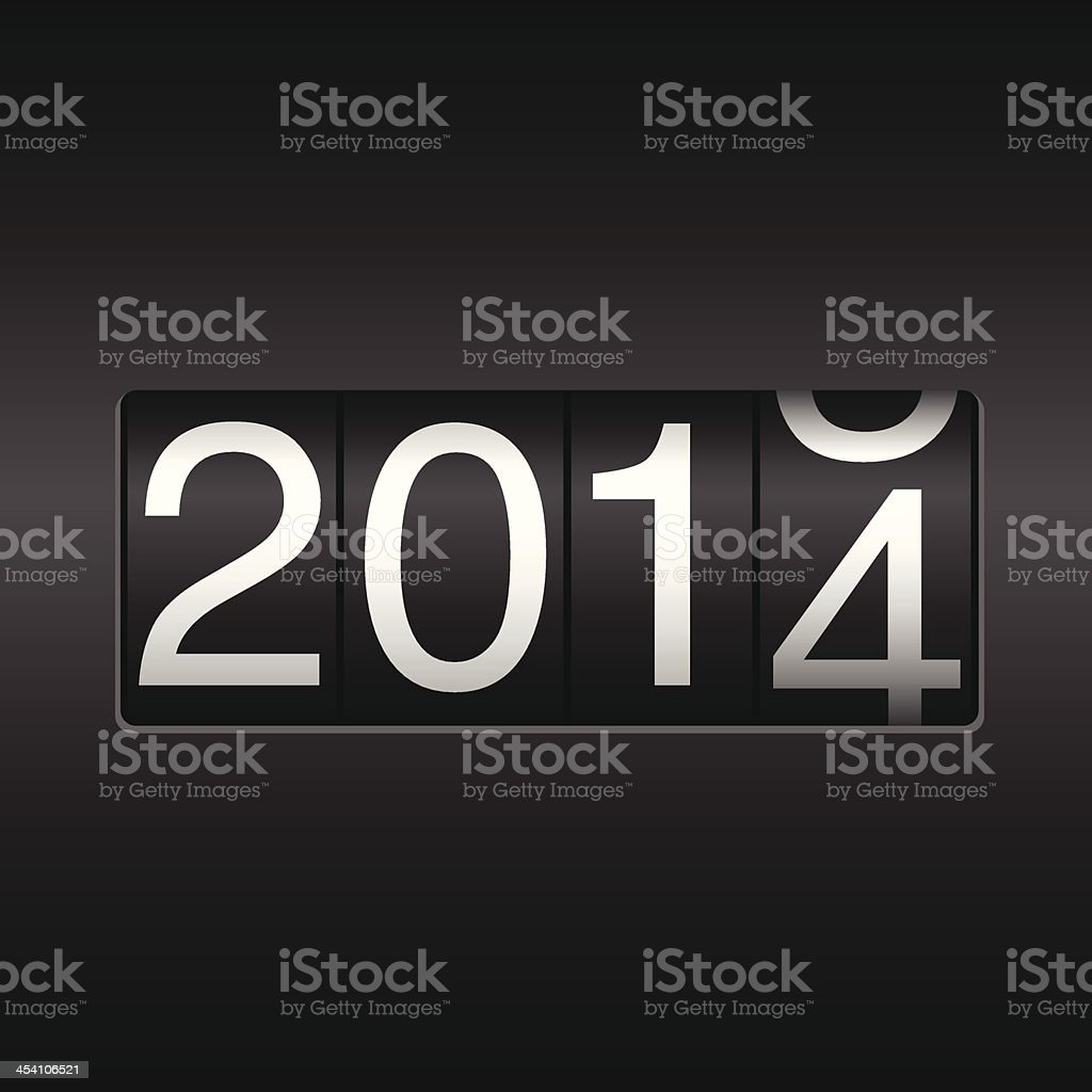 New Year Odometer 2014 vector art illustration