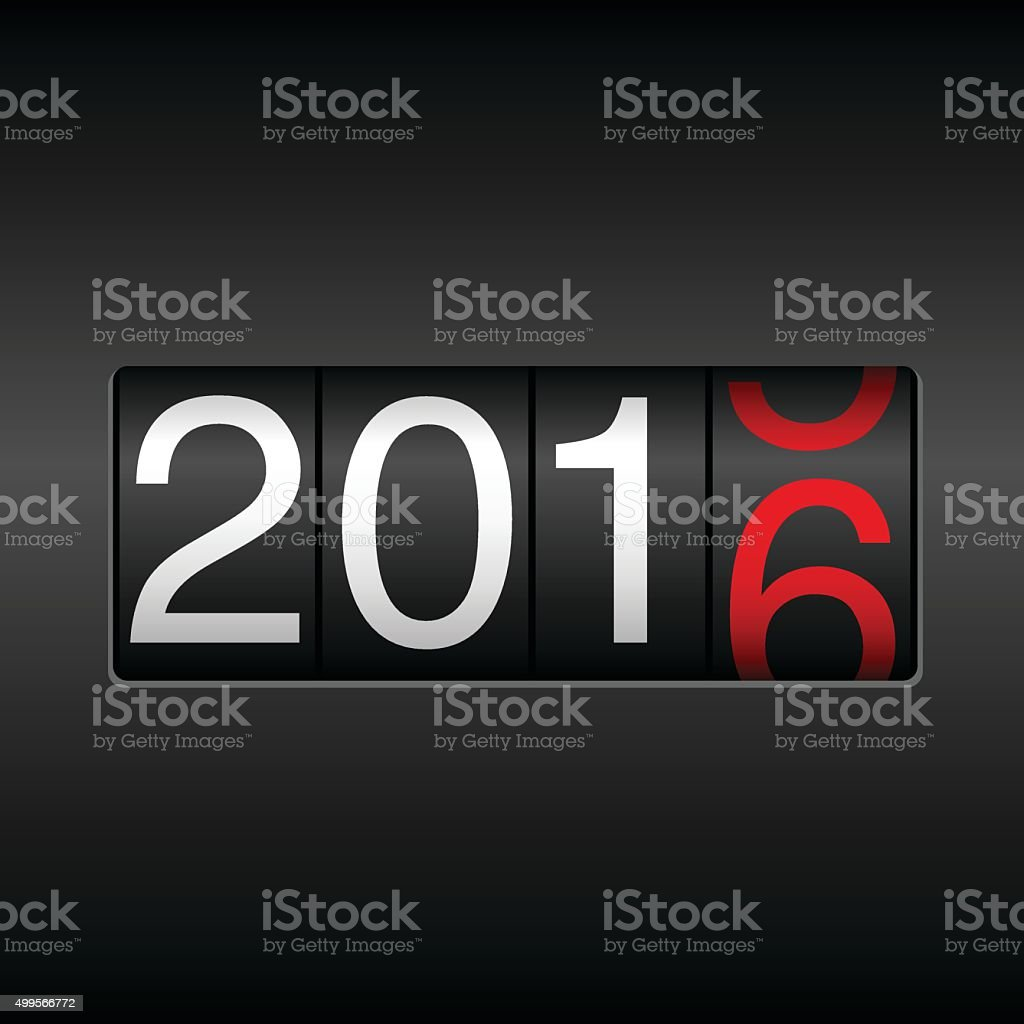 New Year Odometer 2016 - Black and Red vector art illustration