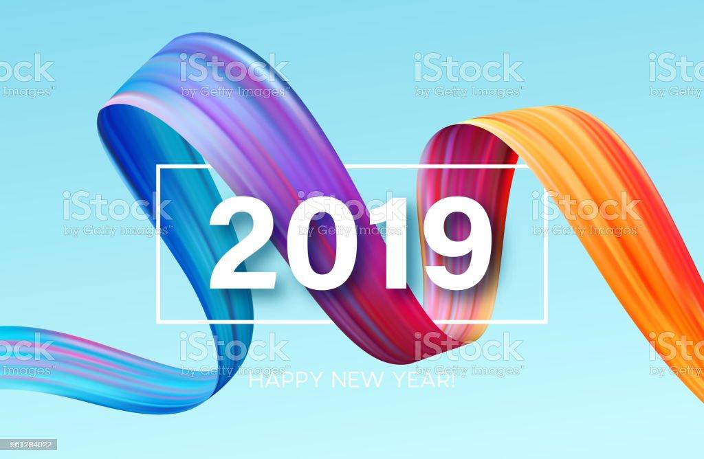 2019 Neujahr eine bunte Pinselstrich Öl-oder Acrylfarbe Gestaltungselement. Vektor-illustration – Vektorgrafik