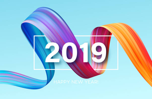 2019 new year of a colorful brushstroke oil or acrylic paint design element. vector illustration - abstract calendar stock illustrations, clip art, cartoons, & icons