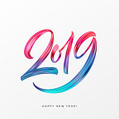2019 New Year of a colorful brushstroke oil or acrylic paint lettering calligraphy design element. Vector illustration EPS10