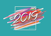 2019 New Year of a colorful brushstroke with Frame, Happy New Year Card design, web banner template, poster, postcard, Hand written lettering, abstract background, Vector illustration EPS10