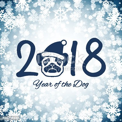 New Year Of The Dog Greeting Card With Cute Pug Vector Illustration ...