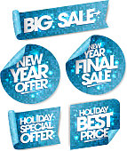 New year offer, new year final sale, holiday special offer, holiday best price, big sale stickers, winter holiday collection