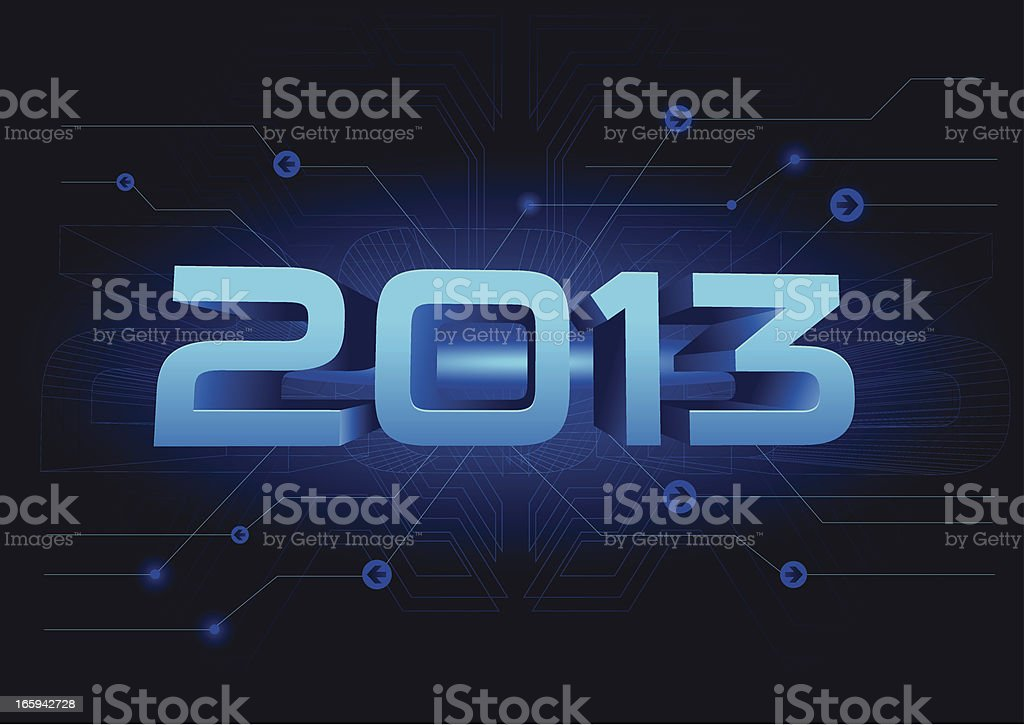 New Year on Sci fi background vector art illustration