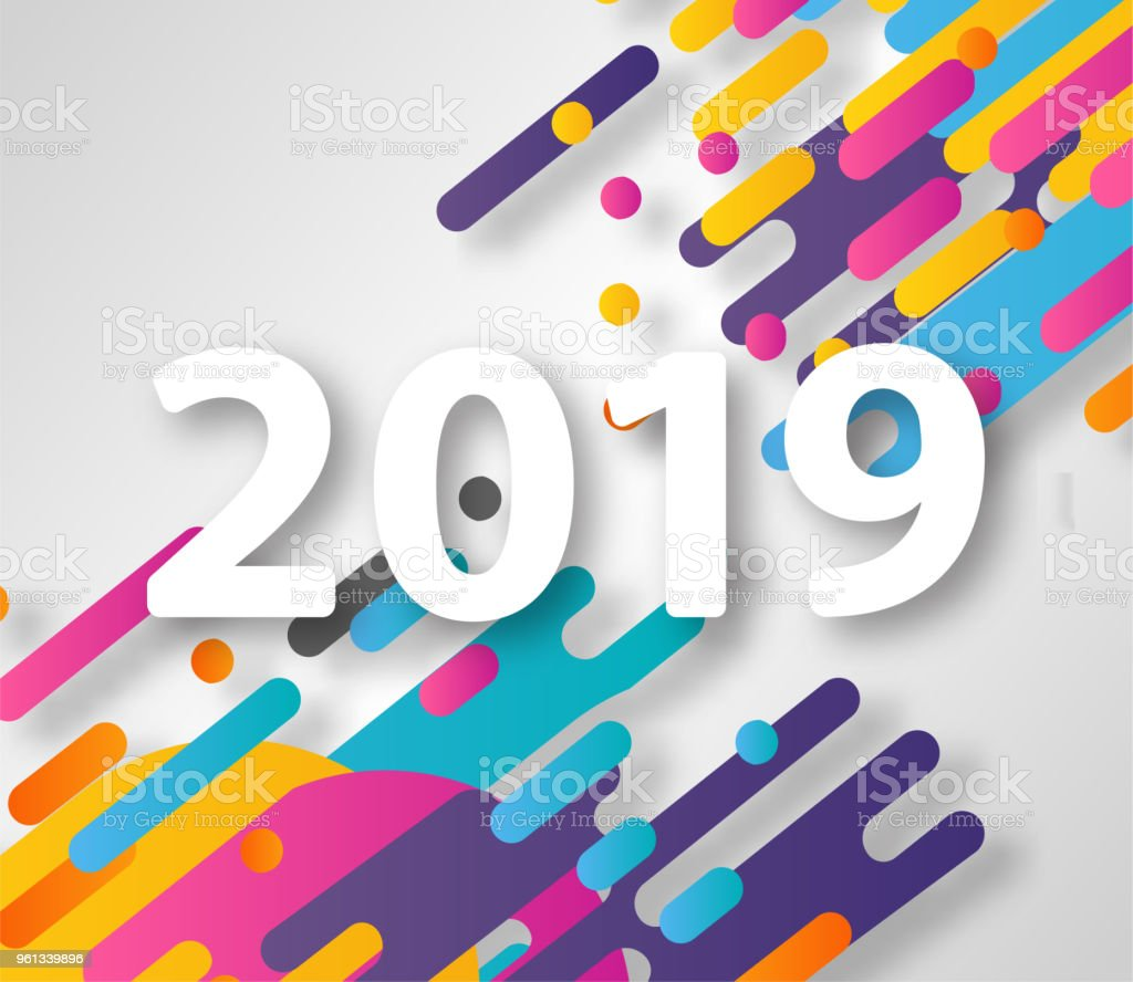 2019 new year on the background of a colorful halftone hipster design element for presentations