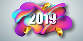 2019 New Year on the background of a Liquid color background design element. Fluid shapes composition. Vector illustration EPS10.