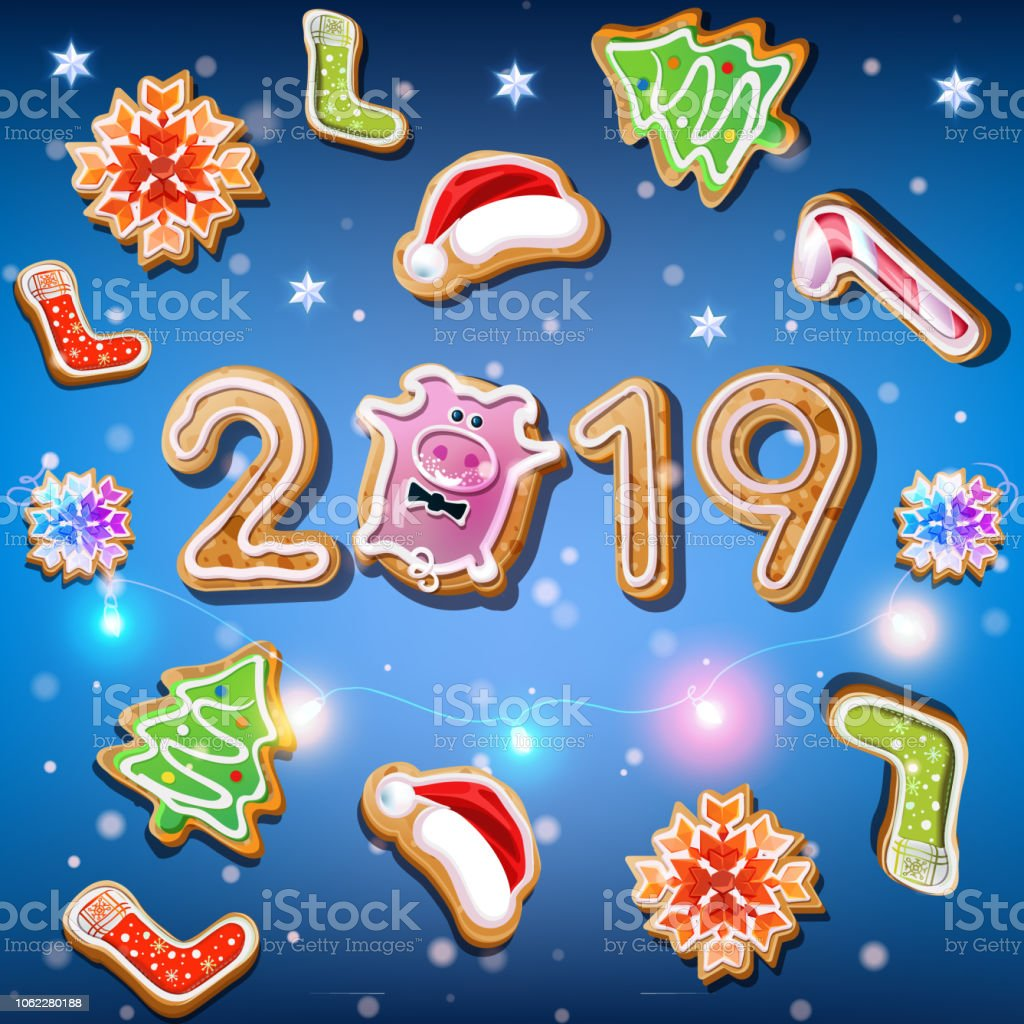 Weihnachtsgebäck 2019.2019 Neujahr Auf Dem Blauen Hintergrund Mit Weihnachtsgebäck Stock