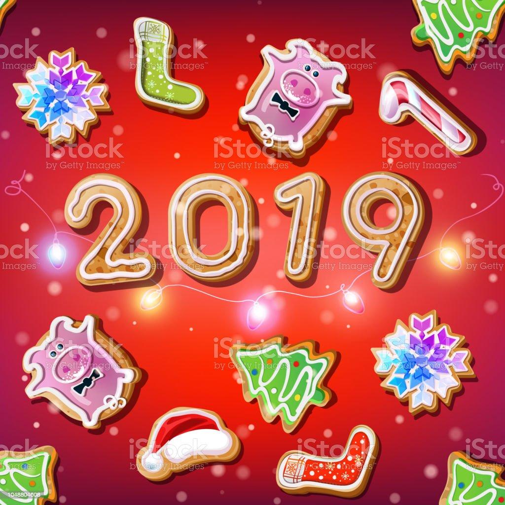 Weihnachtsgebäck 2019.2019 Silvester Auf Dem Roten Hintergrund Mit Weihnachtsgebäck Stock