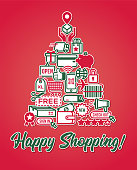 Set of holiday online shopping sale discount retail promotion customer coupon money icons stickers (price tag, gift card, credit card, sale coupons etc.) in a shape of Christmas tree