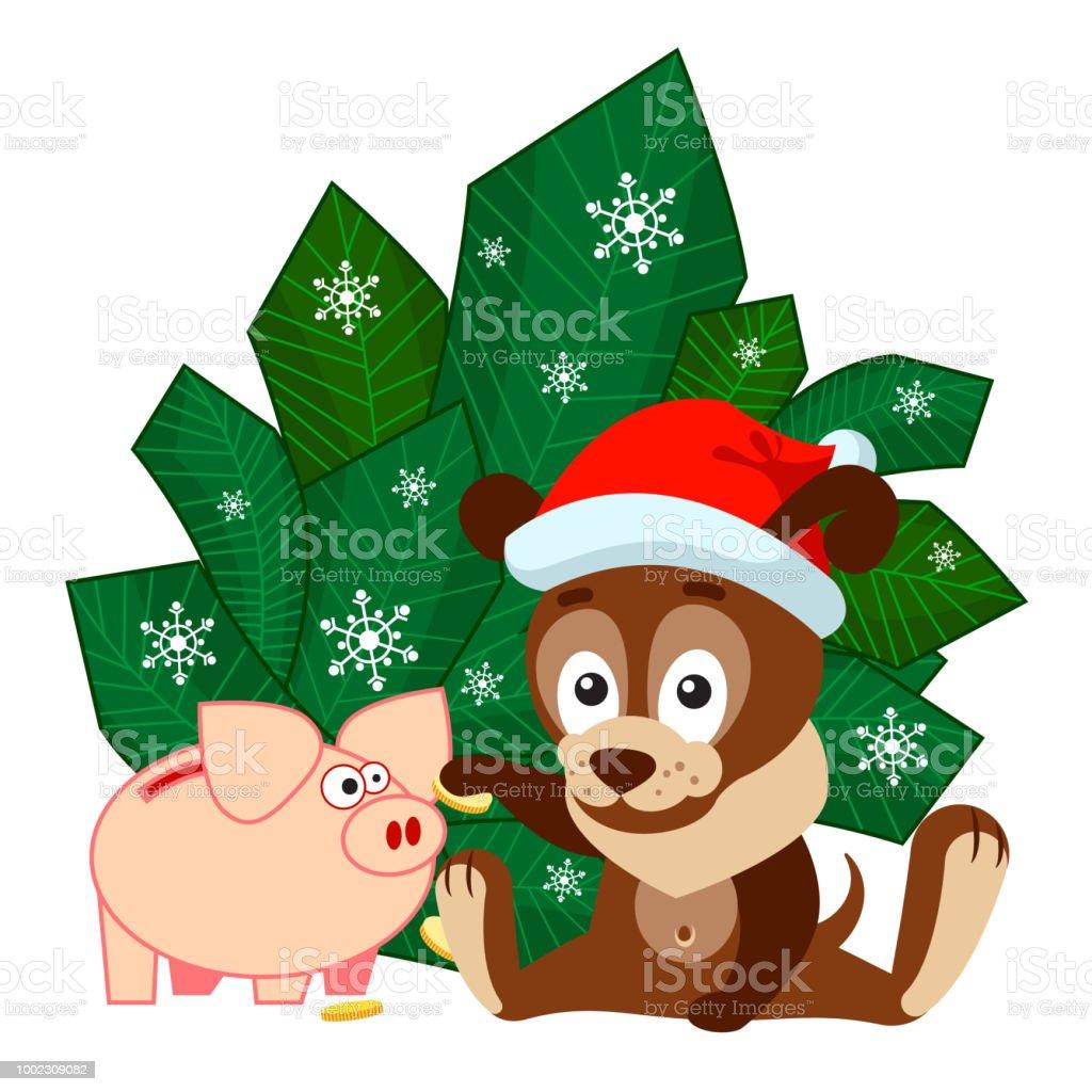 Weihnachten Oder Neujahr Grußkarte Mit Hund Sitzt Vor Den Zweigen ...