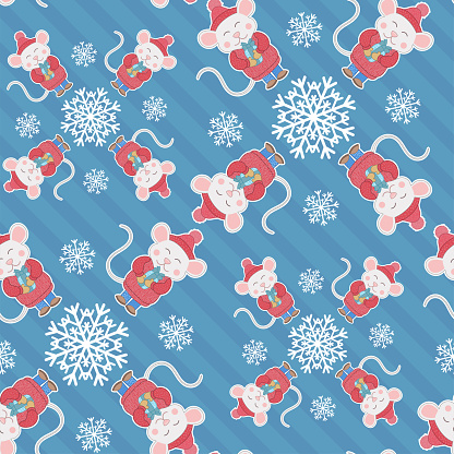 New Year or Christmas seamless pattern with cartoon mouse and snowflakes. On a blue striped background. Wrapping paper.
