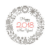 New Year icons. Happy New Year 2018 Frame. Elegant minimal design in the style of a thin line art. Christmas party elements. Outline pictograms for web site design and mobile apps. Editable stroke.