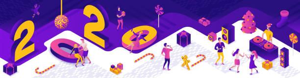 Neujahrsparty 3d isometrische Illustration, DJ spielen Club Disco Musik, Menschen tanzen, Weihnachtsbaum, Geschenk, Urlaub Plakat, Nacht Winter Veranstaltung Vektor Konzept, violett, gelb, rosa Farben – Vektorgrafik