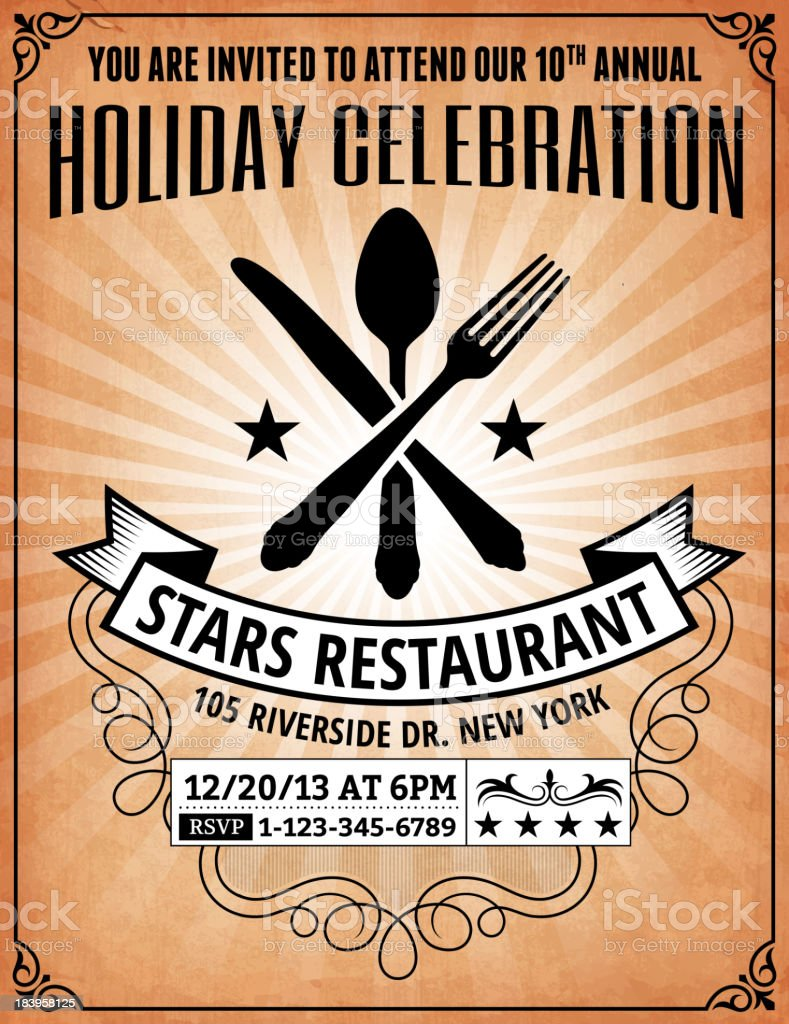 New year party and holiday celebration restaurant invitation stock new year party and holiday celebration restaurant invitation royalty free new year party and holiday stopboris Images