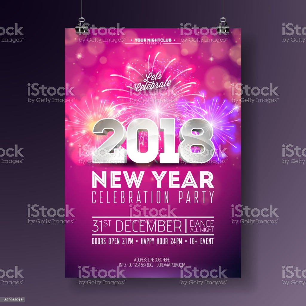 New Year Party Celebration Poster Template Illustration With 3d 2018 Number  And Firework On Shiny Colorful