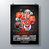 New Year Party Celebration Poster Template illustration with 3d 2019 Number and Christmas Ball on Black Background. Vector Holiday Premium Invitation Flyer or Promo Banner