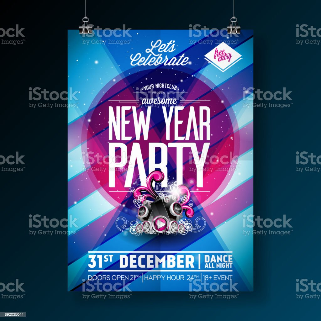 new year party celebration poster template illustration with typography design and speaker on shiny colorful background