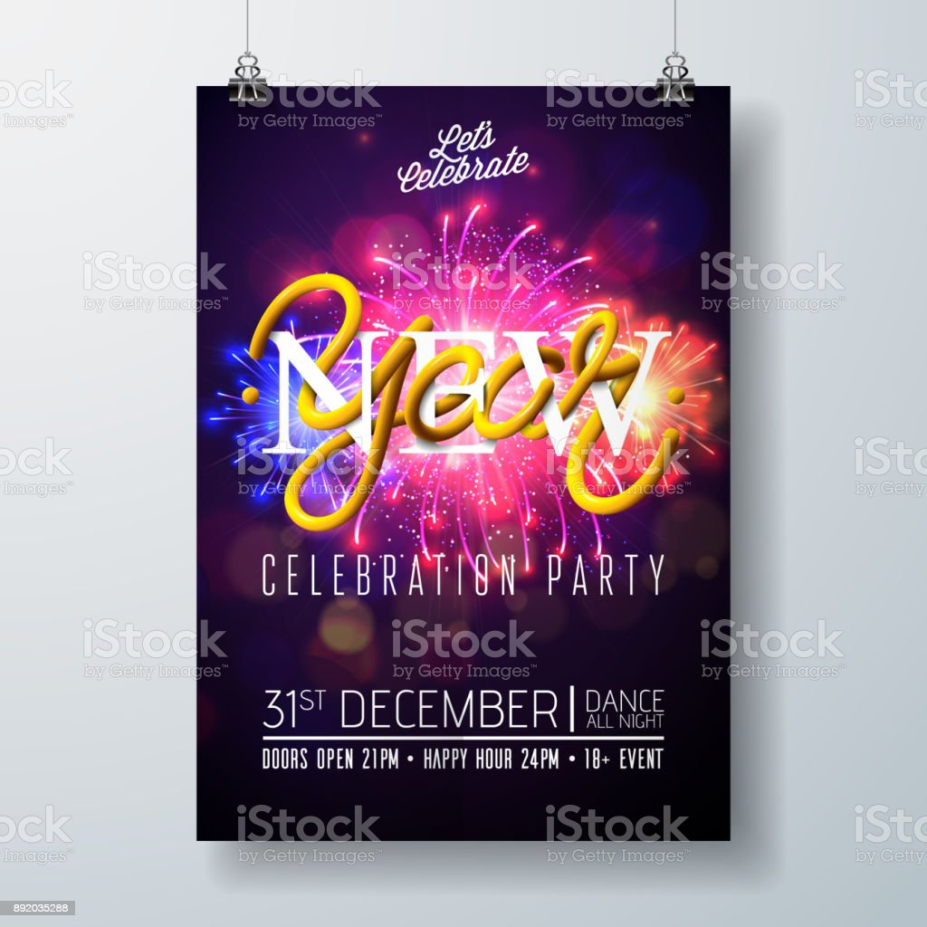 new year party celebration poster template illustration with typography designand firework on