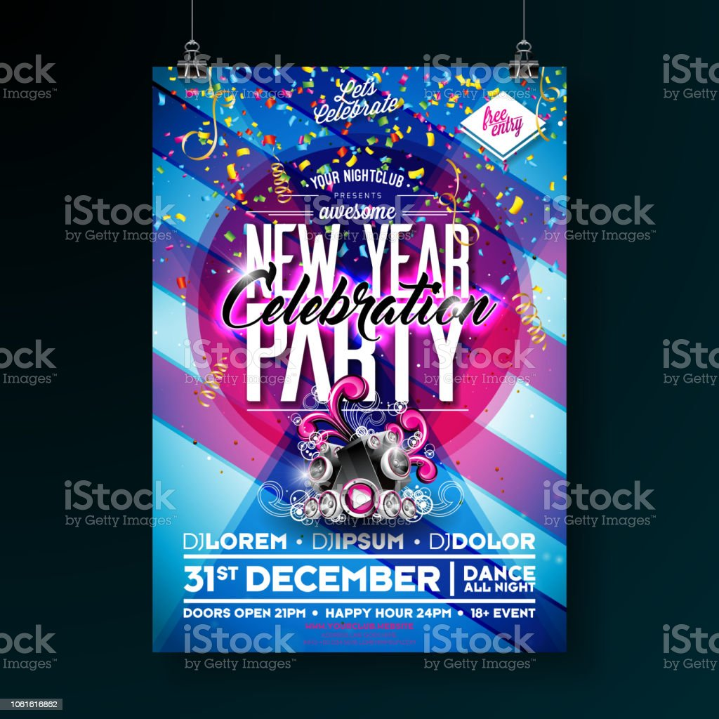 new year party celebration poster template illustration with speakers and colorful falling confetti on shiny blue