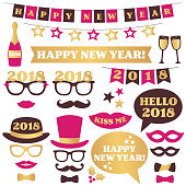 New Year party vector design elements and photo booth props