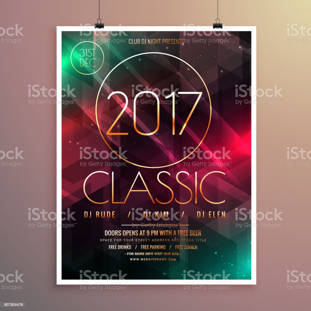 2017 new year party event flyer template with colorful lights 2017