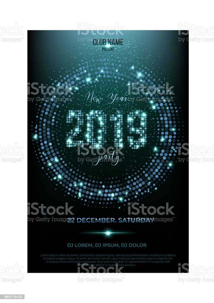 2019 new year party flyer template glitter words spot lights and glitter on shiny