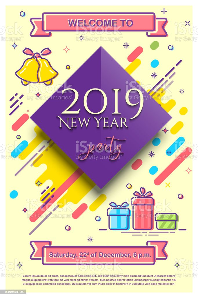 2019 New Year Party Flyer Template Vector Retro 2019 New Year Party
