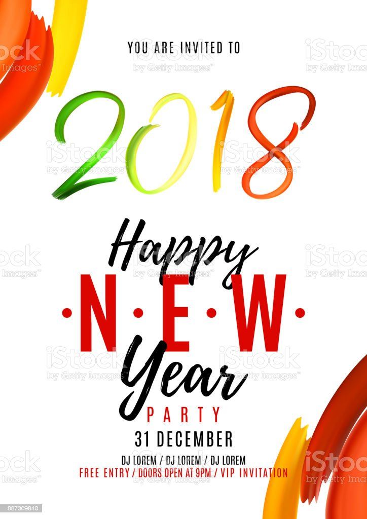 2018 New Year Party Flyer Cliparts Vectoriels Et Plus D Images De