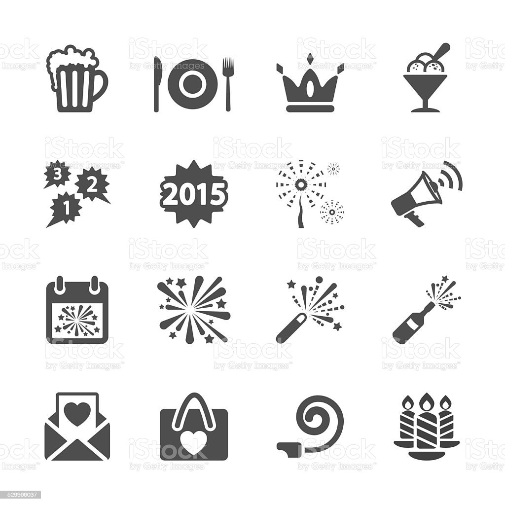 new year party icon set 3, vector eps10 vector art illustration