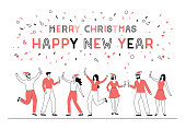 Easily editable vector illustration on layers. People toasting to the new year.