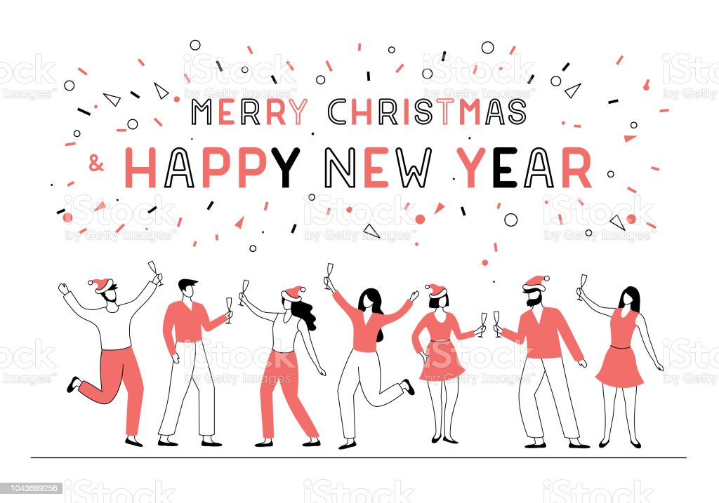 New year party people vector art illustration