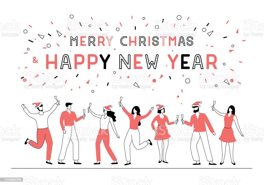 Personas del partido de año nuevo - ilustración de arte vectorial