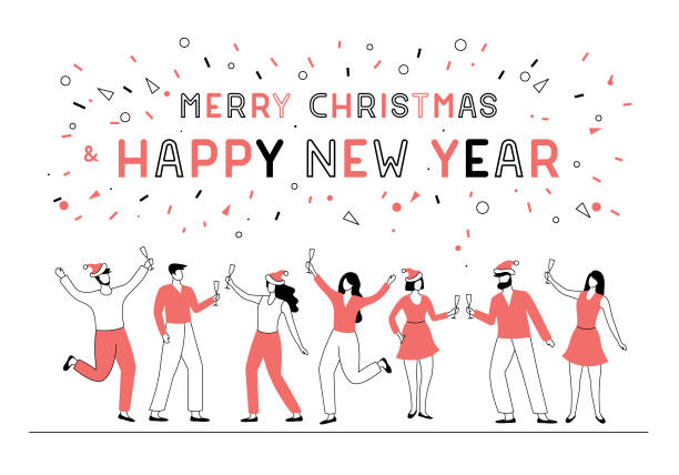 new year party people - office party stock illustrations, clip art, cartoons, & icons