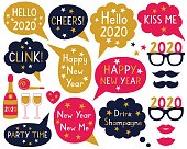 New Year party photo booth props and speech bubbles set