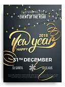 New Year party poster design. Background of New Year lettering, christmas lights and curly gold gift ribbons.