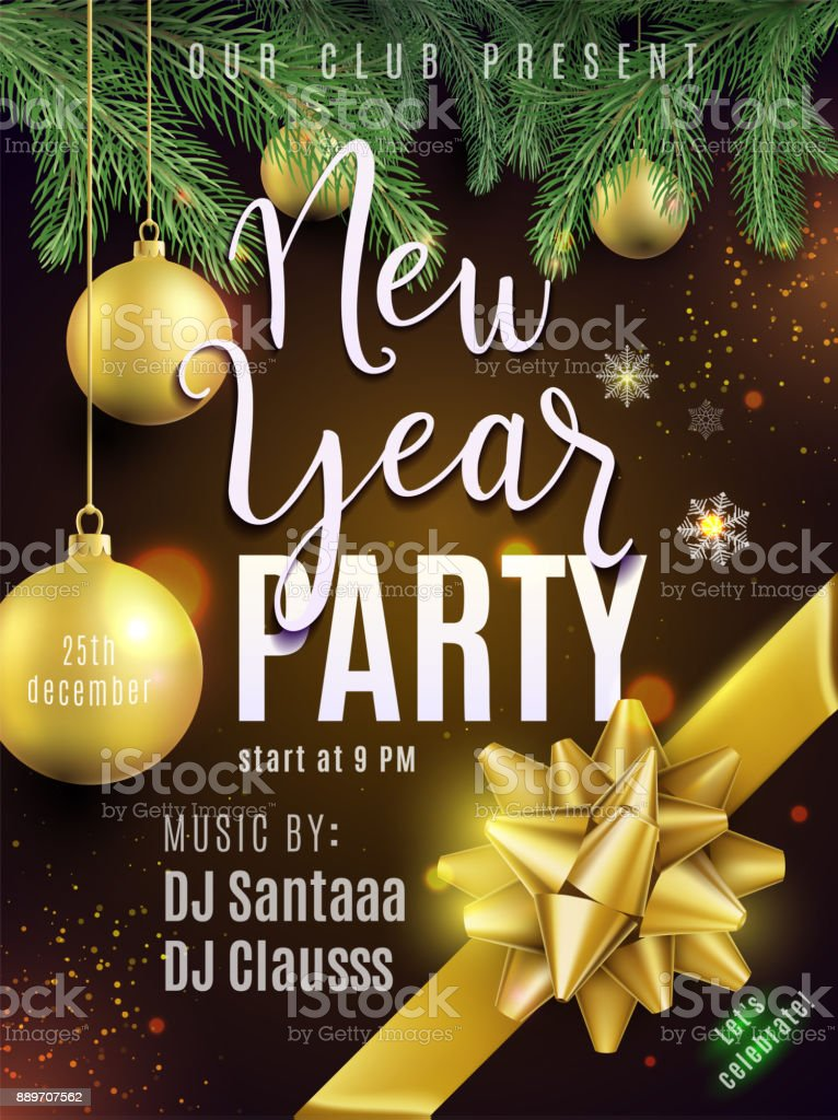 New year party poster. Luxury gold invitation for celebration vector art illustration