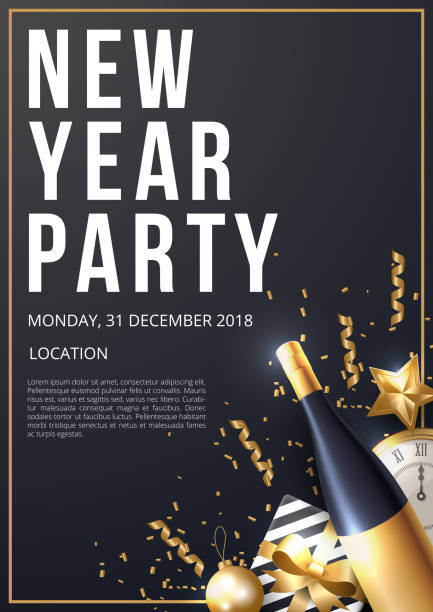 new year party poster template vector illustration vector art illustration