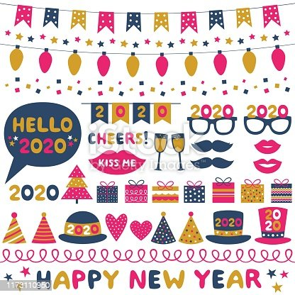 New Year party vector design elements set and decoration