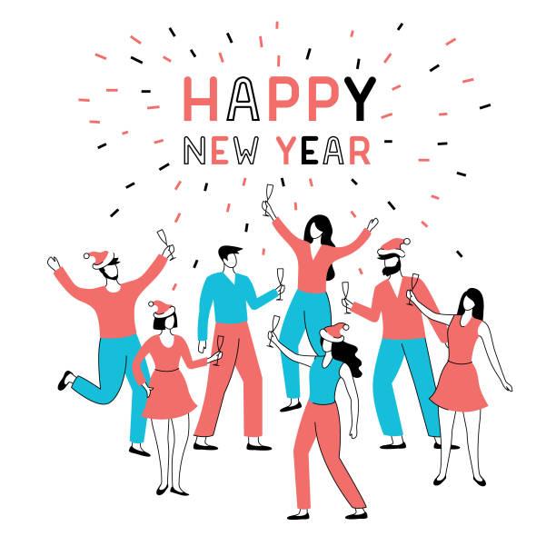 ilustraciones, imágenes clip art, dibujos animados e iconos de stock de fiesta de año nuevo - fiesta en la oficina
