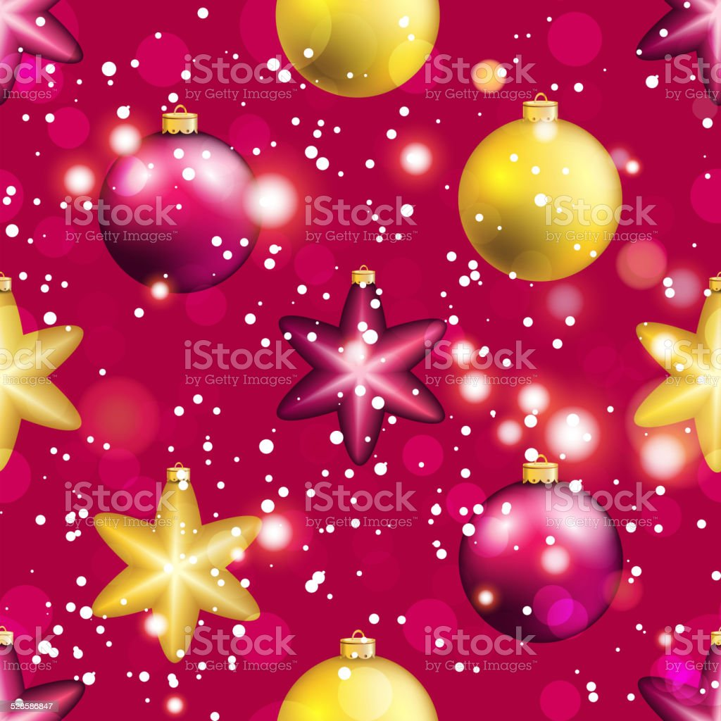 New Year Pattern With Ball Christmas Wallpaper Stock