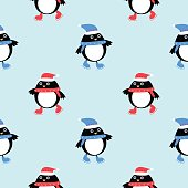 New year penguin seamless vector pattern skates