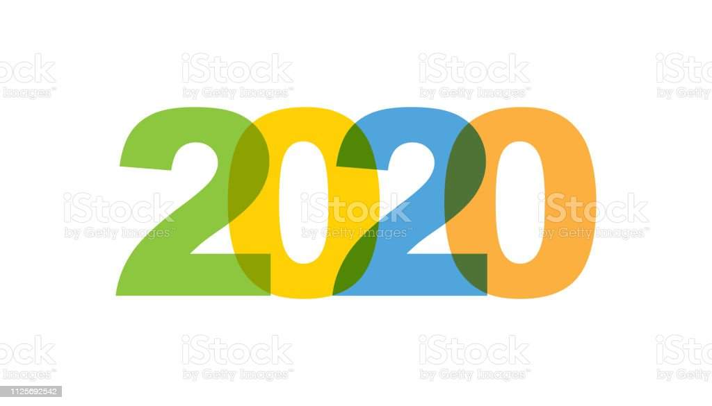 2020 New Year Phrase Overlap Color No Transparency Concept ...
