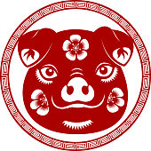 New Year Pig Head Symbol